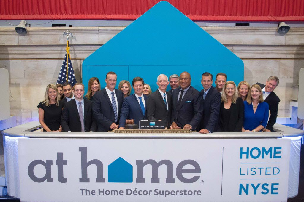 Plano-based home decor superstore At Home started trading shares on the New York Stock Exchange this morning, Aug. 4, 2016. The stock trades under the symbol HOME. Management is shown here ringing the bell at the NYSE.