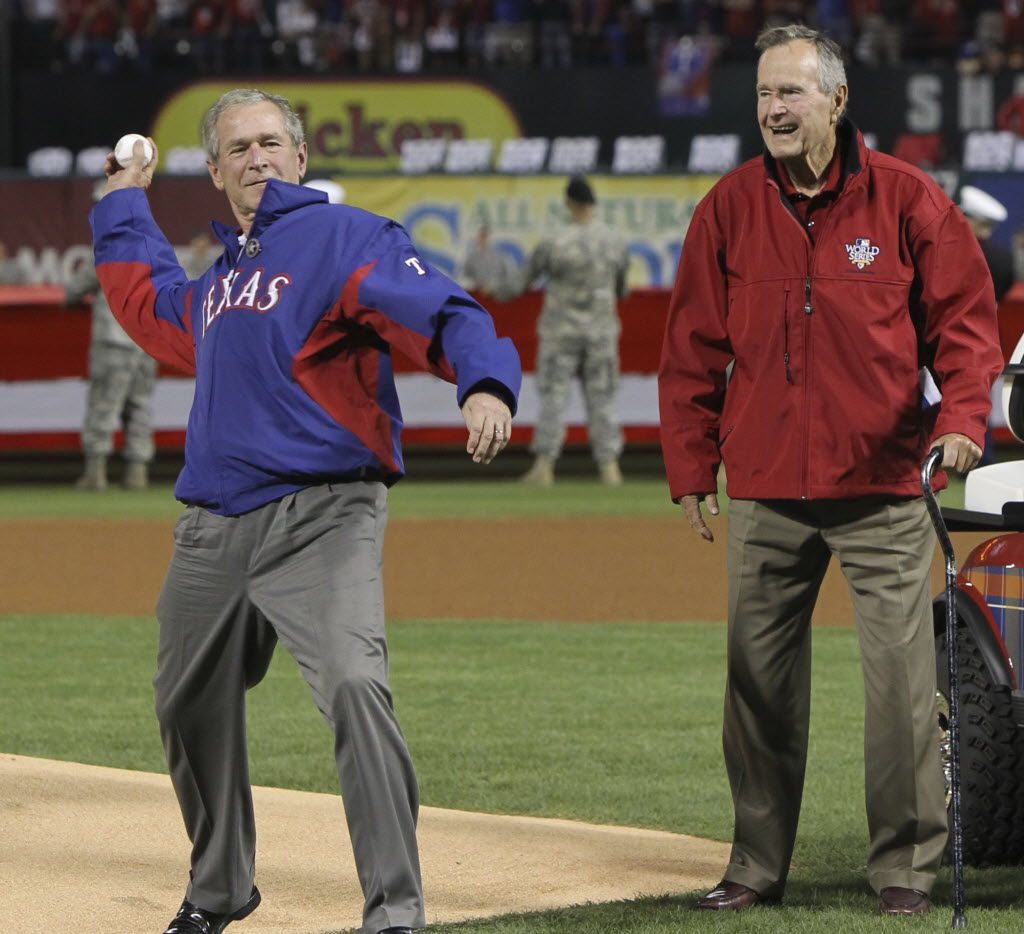 George H.W. Bush accompanied his son George W. Bush to the mound for the ceremonial first pitch before a Texas Rangers World Series game in 2010. The elder Bush's love for baseball and the Houston Astros was steadfast until the end.
