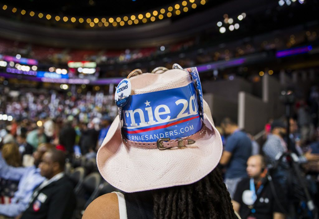 A Bernie Sanders supporter makes her way through the floor during day two of the Democratic National Convention on Tuesday, July 26, 2016 at the Wells Fargo Center in Philadelphia, Pennsylvania. (Ashley Landis/The Dallas Morning News)
