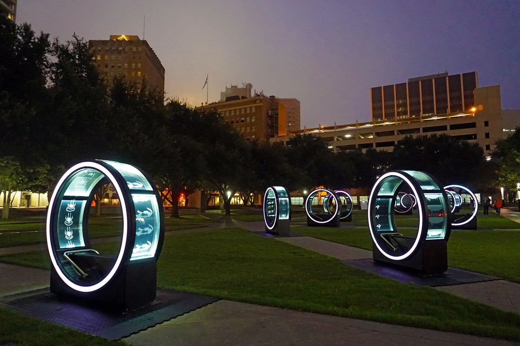 "The ""Loop"" interactive art installation includes a dozen giant cylinders in Burnett Park in downtown Fort Worth. (Photo by Nicole Browne)"