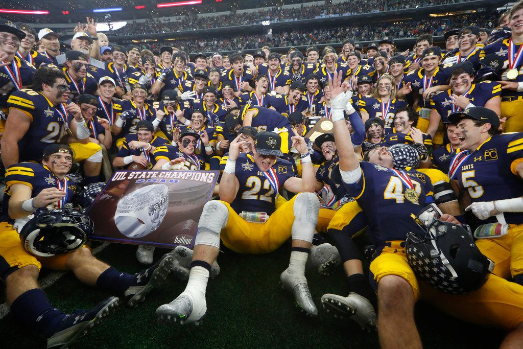 FILE - Highland Park celebrates beating Alvin Shadow Creek 27-17 to win the Class 5A Division I state championship game at AT&T Stadium on Dec 22, 2018. (Nathan Hunsinger/The Dallas Morning News)