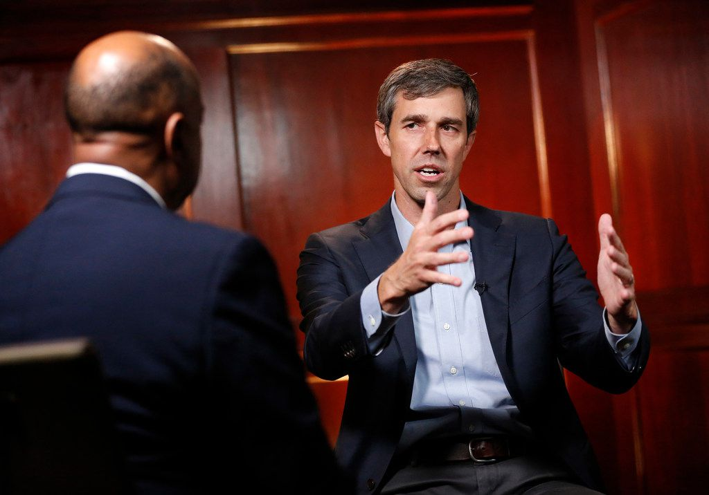 Democratic Presidential candidate Beto O'Rourke (right) talked with Dallas Morning News political reporter Gromer Jeffers Jr.  at The Worthington Renaissance Fort Worth Hotel on Friday.