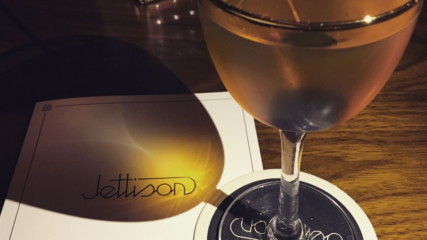 The Manhattan, TX, from Jettison. It's a mix of rye whiskey, single-malt whiskey, dry vermouth and bitters.