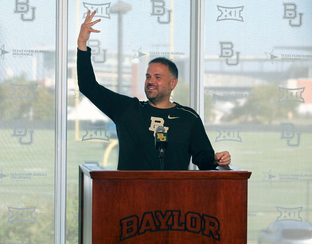 Baylor Head football coach Matt Rhule addresses the media, Tuesday, Aug. 29, 2017, in Waco, Texas. Baylor coach Matt Rhule has suspended two expected starting players for incidents over the summer. Rhule said Tuesday that senior safety Taion Sells will miss the first three games, and senior left tackle Mo Porter will sit out the first half of Saturday's season opener at home against Liberty. (Jerry Larson/Waco Tribune-Herald via AP)