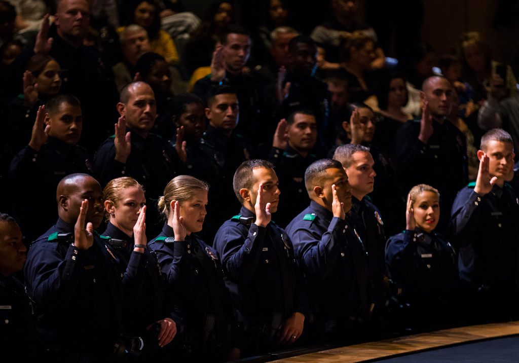 Dallas Police Department Basic Academy Recruit Class 362 took the oath of office on April 12, 2019, at Mountain View Community College in Dallas