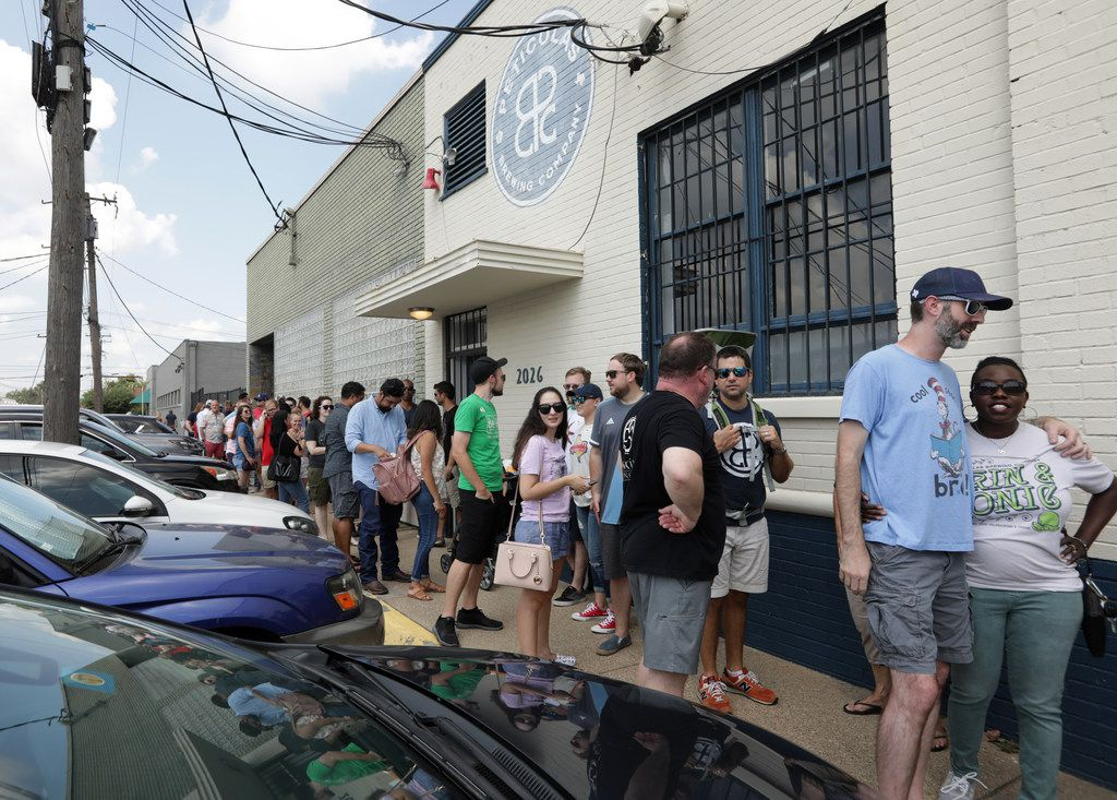 """Customers wait in line to celebrate the new """"beer to go"""" state law at Peticolas Brewing Company in Dallas, TX, on Sep. 1, 2019. Sunday, Sept. 1 is the first day Texans can purchase beer to go from breweries. Peticolas sold packaged beer for the first time after the Texas Legislature passed beer-to-go in May. The law allows customers to take home up to the equivalent of a case of beer."""