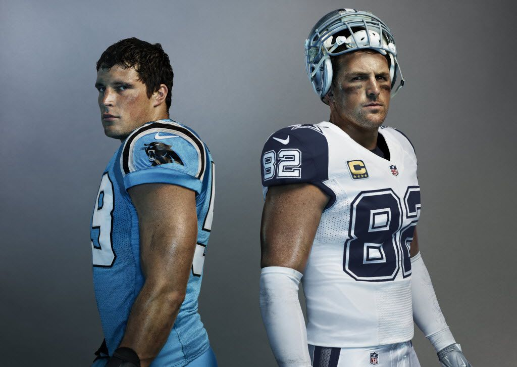 Cowboys TE Jason Witten and Panthers LB Luke Kuechly model the Nike Color Rush uniforms that the teams will wear on Thanksgiving Day.
