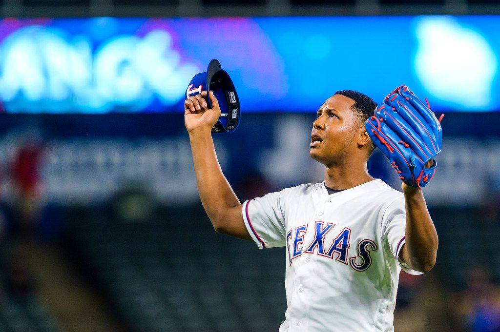 Texas Rangers relief pitcher Jose Leclerc celebrates the final out of a 10-9 victory over the Tampa Bay Rays at Globe Life Park on Wednesday, Sept. 11, 2019, in Arlington. (Smiley N. Pool/The Dallas Morning News)