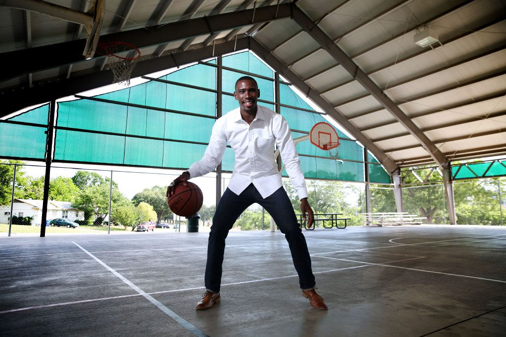 Terrel Harris, former Miami Heat guard, poses for a photograph at the Willie B. Johnson Recreation Center in the Hamilton Park neighborhood where he grew up in Dallas on Thursday, May 25, 2017. (Rose Baca/The Dallas Morning News)