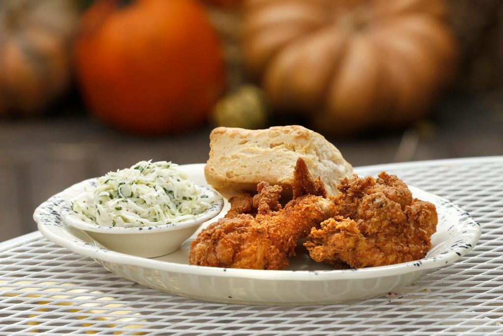 Fried chicken served with a biscuit and cole slaw at Whistle Britches Restaurant in Dallas on October 14, 2016. (Nathan Hunsinger/The Dallas Morning News)