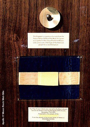 An image of the Honduras goodwill moon rock that was recovered in 1998 with Ross Perot's involvement.