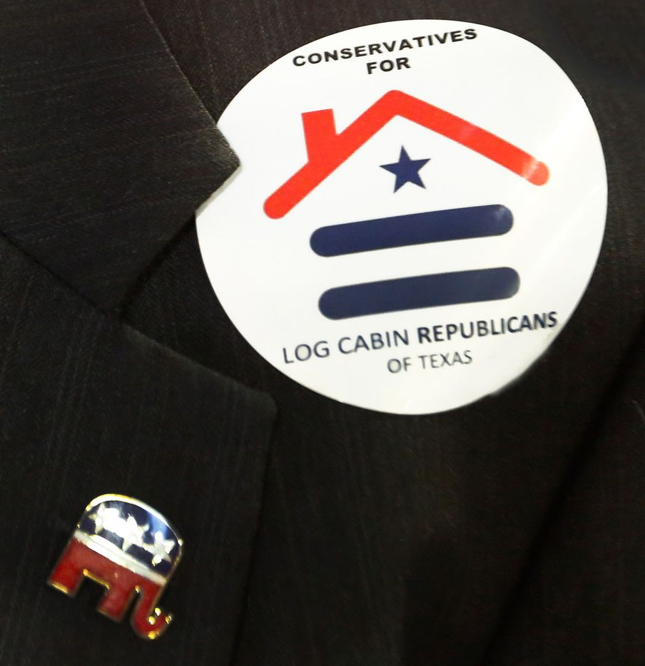 A look at the logo for the Log Cabin Republicans, as seen during the 2018 Texas GOP Convention held at the Henry B. González Convention Center in downtown San Antonio, Texas on Saturday, June 16, 2018. (Louis DeLuca/The Dallas Morning News)