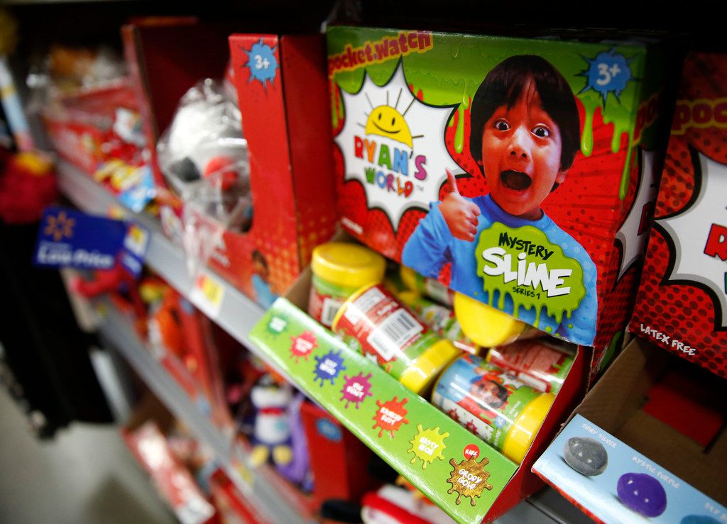 A display of Ryan's World toys at Walmart in Dallas on Tuesday, Nov. 20, 2018. (Rose Baca/The Dallas Morning News)