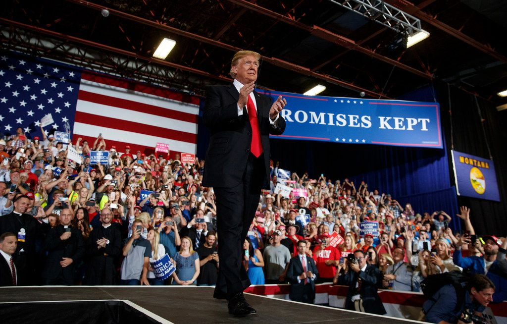 President Donald Trump arrives to speak during a rally at the Four Seasons Arena at Montana ExpoPark, Thursday, July 5, 2018, in Great Falls, Mont.
