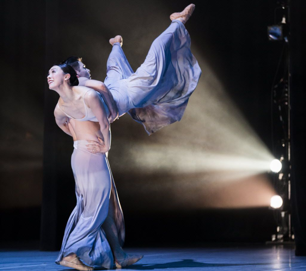 Dancers David Escoto and Kimi Nikaidoh perform in Carved In Stone, choreographed by Joy Atkins Bollinger, during a dress rehearsal of the show Six by the Bruce Wood Dance Project on Friday, June 17, 2016 at Dallas City Performance Hall in downtown Dallas.  (Ashley Landis/The Dallas Morning News)