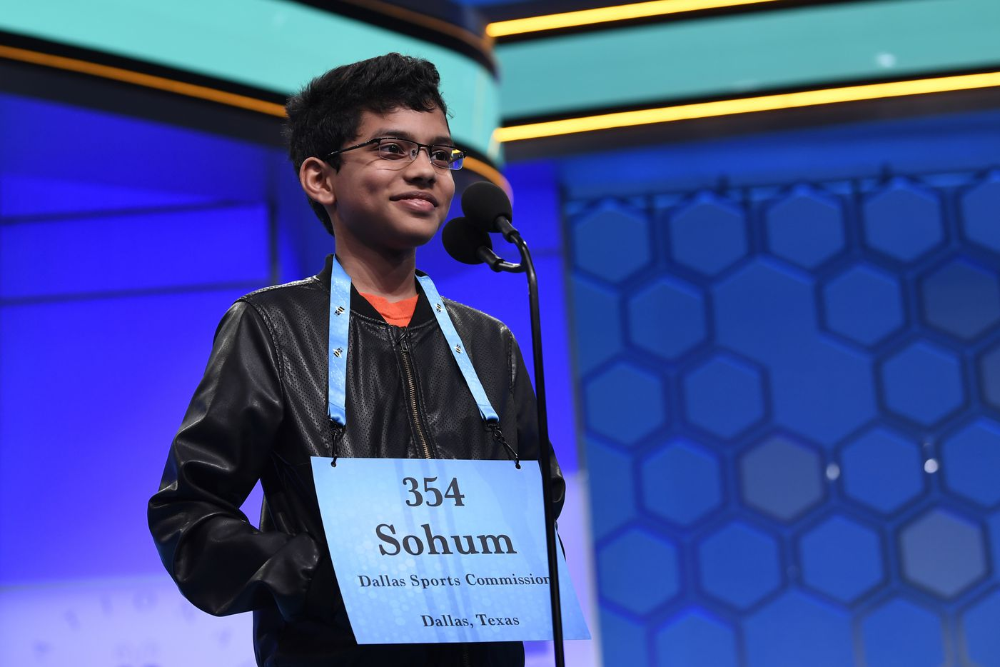 Sohum Sukhatankar, 13, of Dallas, competes in the finals of the Scripps National Spelling Bee in Oxon Hill, Md., Thursday, May 30, 2019. (AP Photo/Susan Walsh)