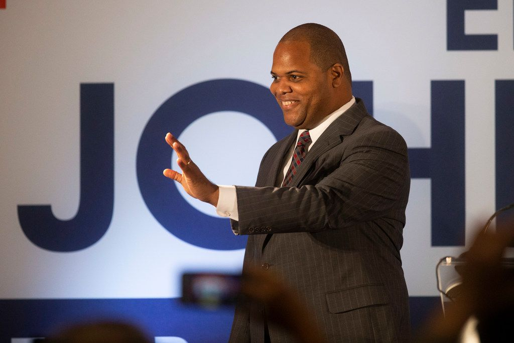 Mayor-Elect Eric Johnson gives remarks during his victory party at the Fairmont Dallas on Saturday, June 8, 2019.