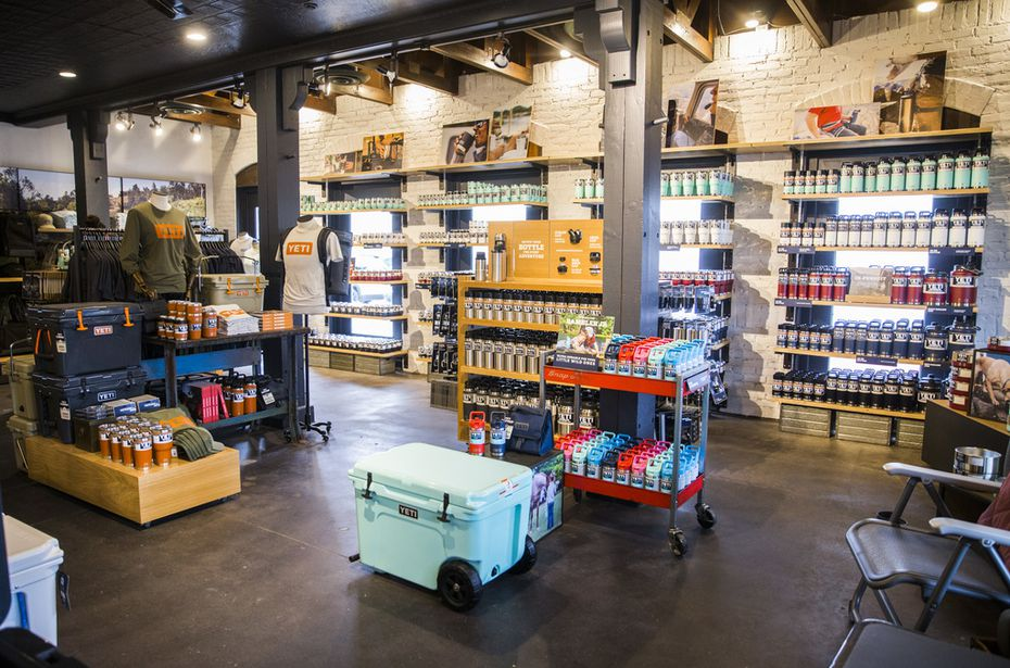Coolers, cups, apparel and other products are on display inside a new Yeti store on Knox St. in Dallas.