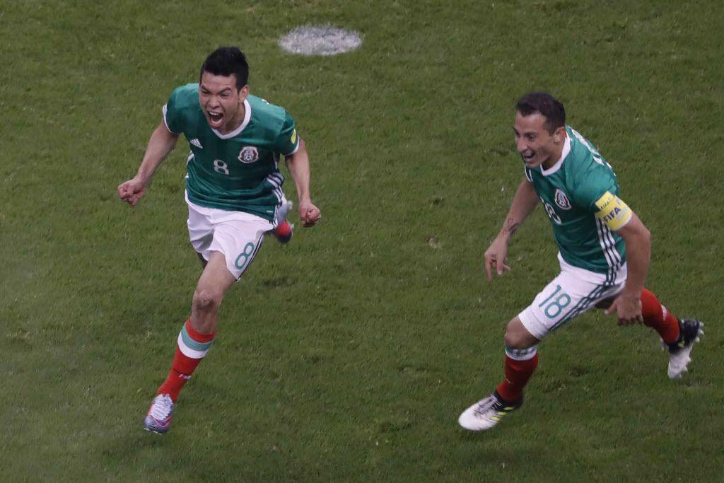 Hirving Lozano anotó el gol del triunfo de México ante Panamá que los clasifica al Mundial de Rusia. Foto AP