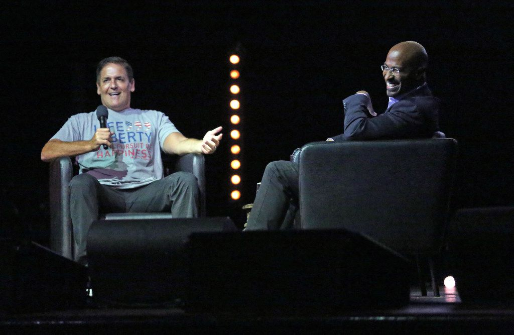 Mark Cuban and Van Jones talk during the We Rise tour to fight hatred and racism, in a performance at the House of Blues in Dallas on Aug. 18, 2017.