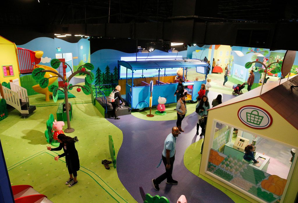 Overall view of some of the interactive exhibits at Peppa Pig World of Play at Grapevine Mills.This is the United States' first permanent Peppa Pig exhibit. Peppa is a very popular kids' cartoon.
