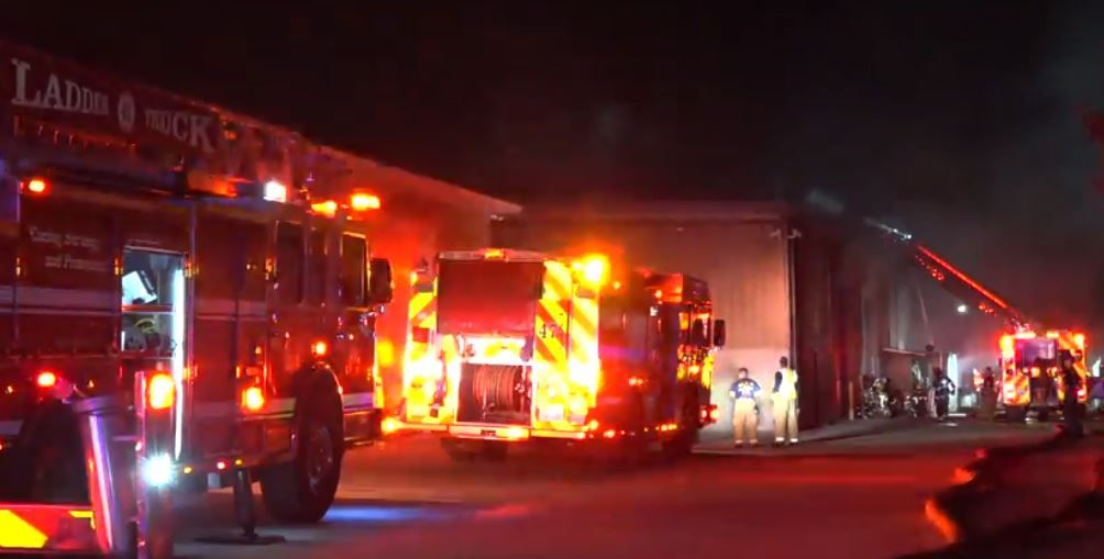 Firefighters battled a 3-alarm blaze that destroyed a cabinet factory Tuesday night in northwest Dallas.