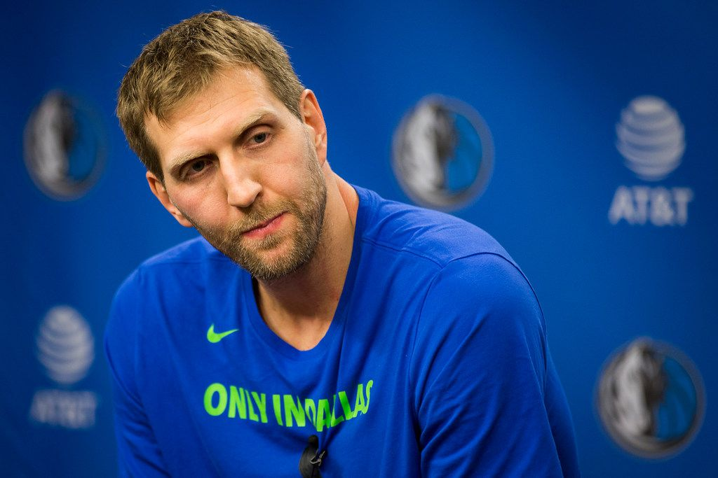 Dirk Nowitzki addresses the media before the Dallas Mavericks season finale against the Phoenix Suns at American Airlines Center on Tuesday, April 10, 2018, in Dallas. (Smiley N. Pool/The Dallas Morning News)