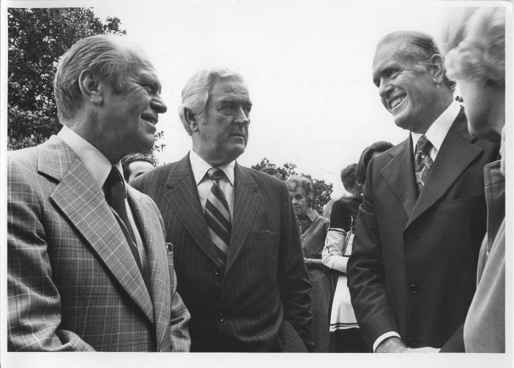 Then-President Gerald Ford, former Gov. John Connally with Dallas businessman Cloyce Box at the home of developer Trammell Crow.