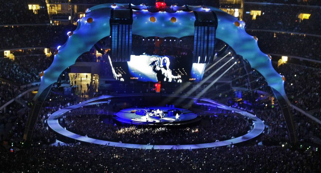 U2 performs at Cowboys Stadium in Arlington on Monday, October 12, 2009.