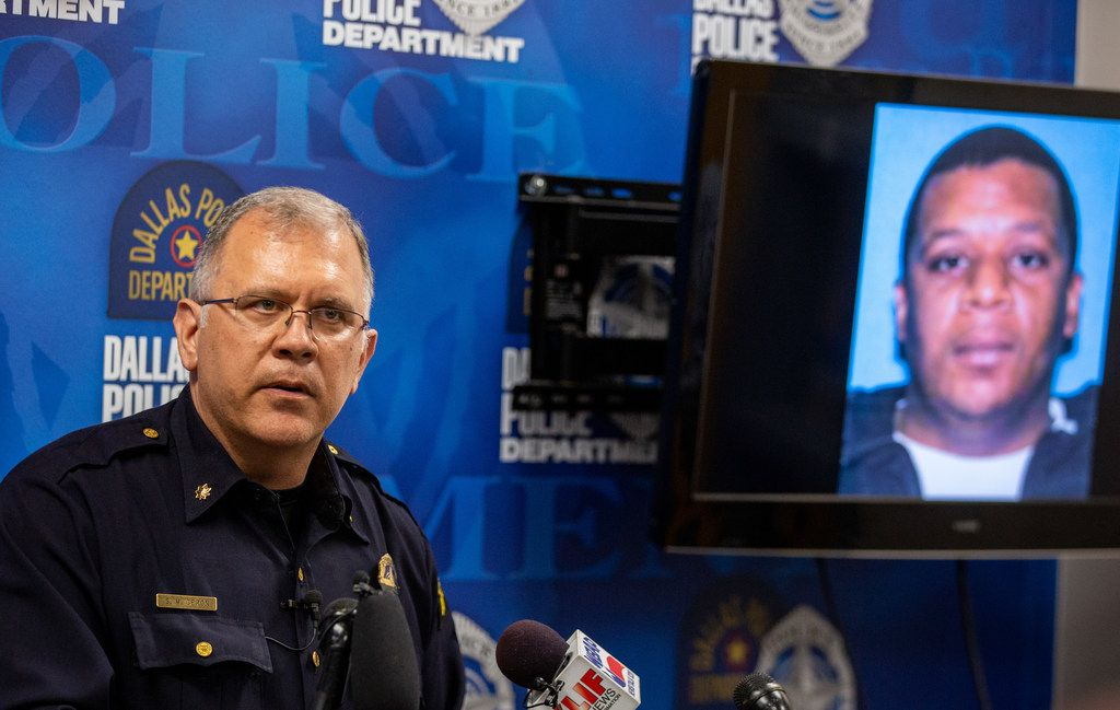 Dallas Police Maj. Max Geron announces the arrest of Kendrell Lavar Lyles, 33, on Wednesday.