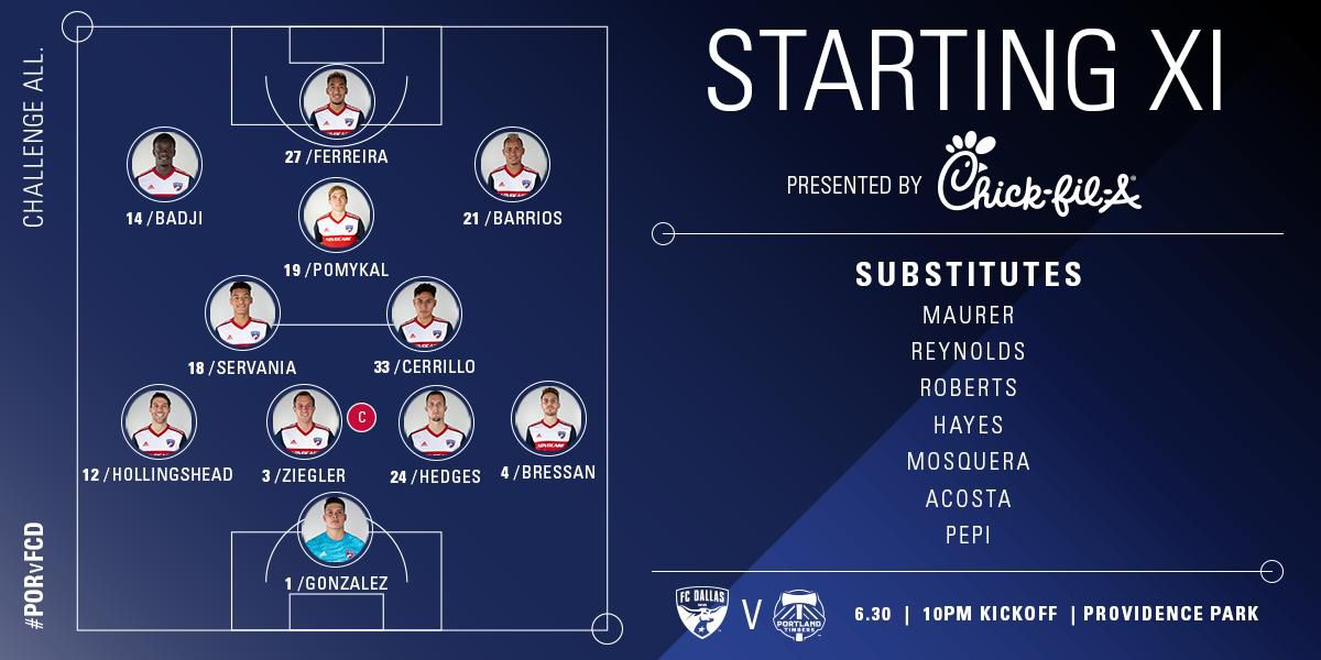 FC Dallas starting XI at Portland Timbers. (9-30-19)