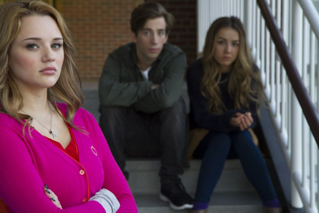 """The cast of """"A Girl Like Her"""" from left to right: Hunter King plays Avery Keller, Jimmy Bennett plays Brian Slater and Lexi Ainsworth plays Jessica Burns."""
