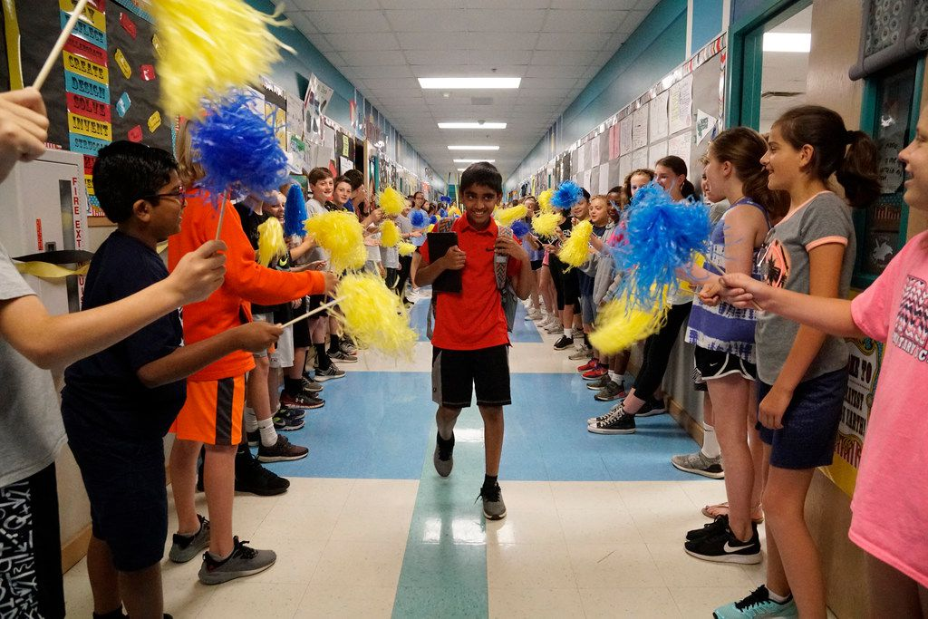 Students and teachers give Abhijay Kodali a grand send off to the National Spelling Bee at Liberty Elementary School in Flower Mound, Texas on Friday May 25, 2018.  (Lawrence Jenkins/Special Contributor)