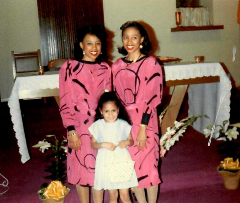 Micaela (left) and Myrna Dartson, home from college on Easter Sunday 1987, at St. Peter the Apostle Catholic Church in Dallas with one of their nieces.