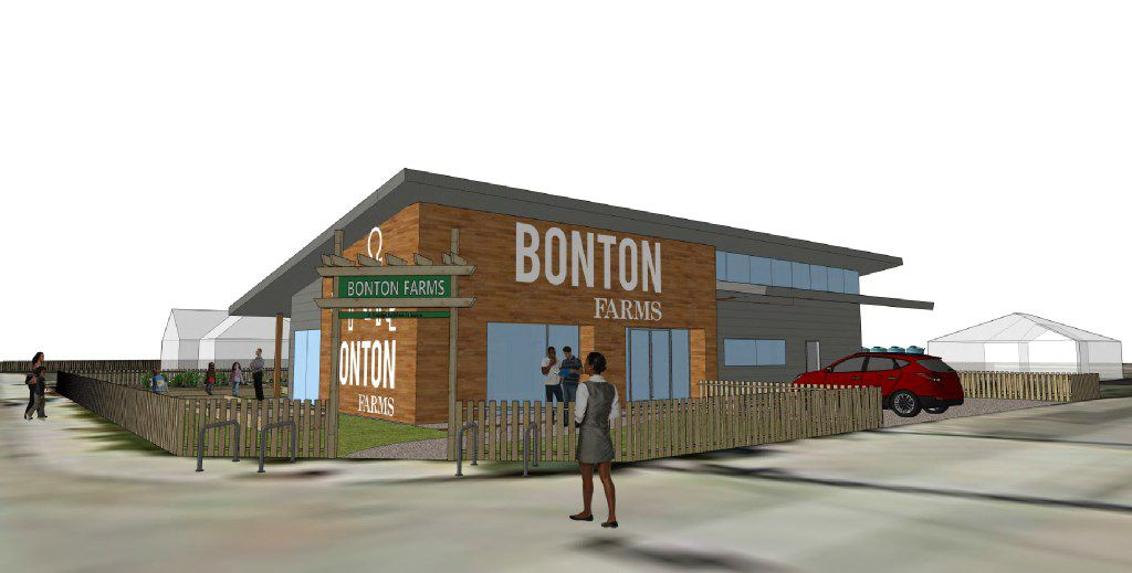 Renderings of Bonton Market, planned in front of Bonton Farms on Bexar Street in southern Dallas