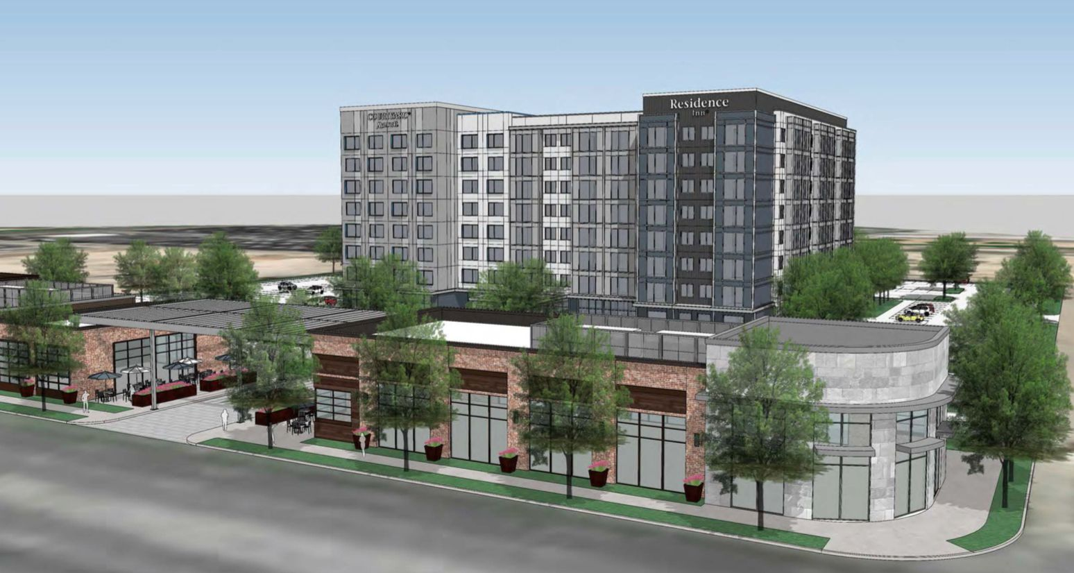 The new Courtyard and Residence Inn hotels and retail space would be built on Mockingbird Lane west of Love Field.