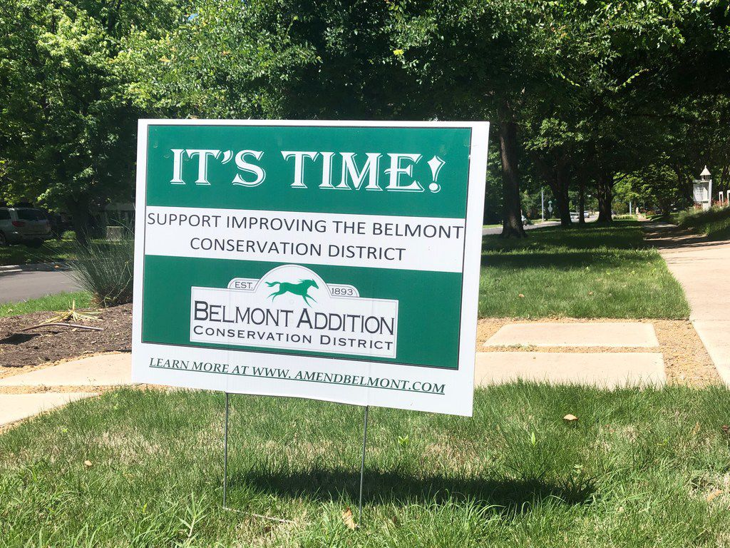 """An """"Amend Belmont"""" sign was posted in the Belmont Addition neighborhood in Old East Dallas on Sunday."""