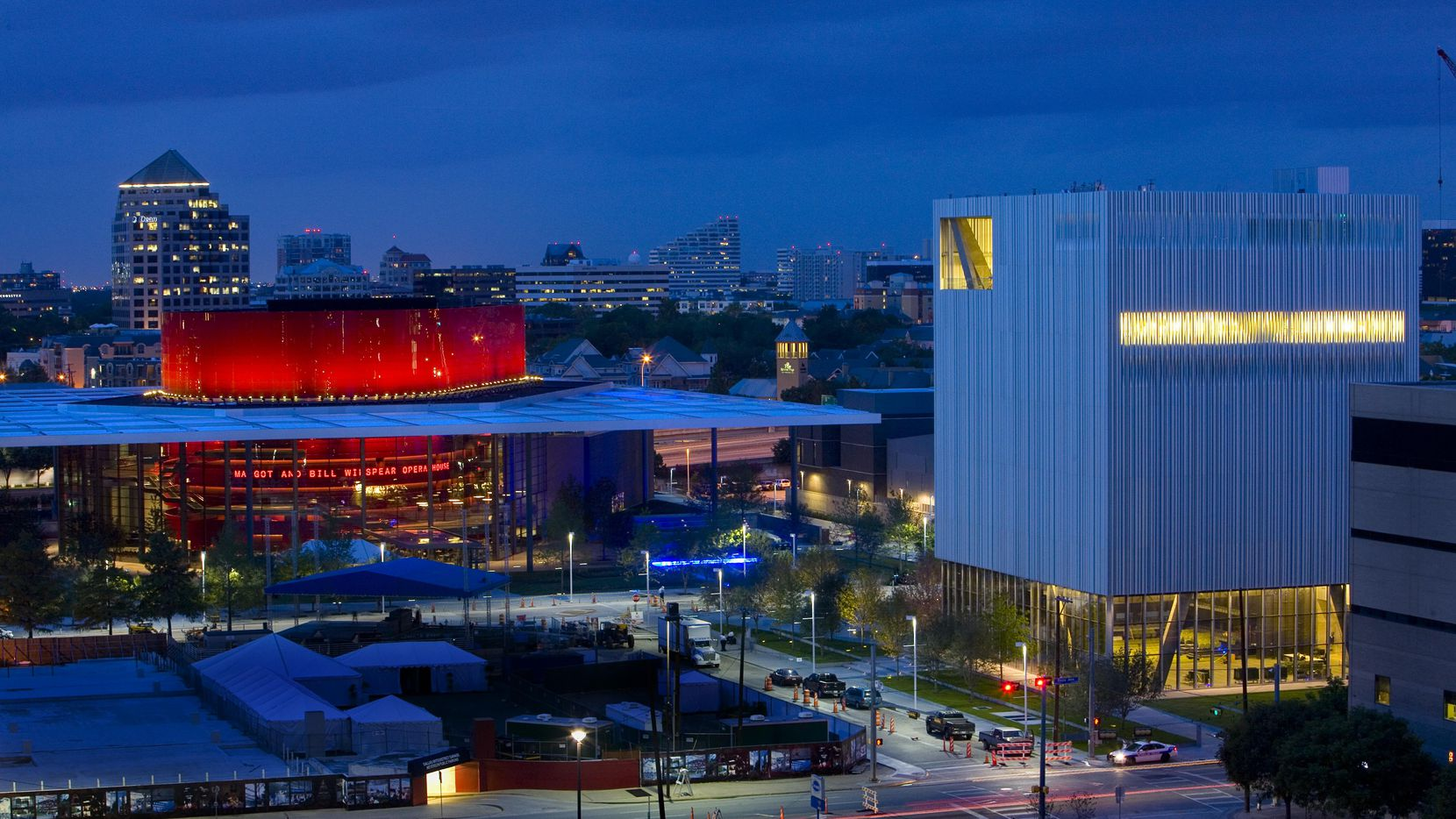 Exterior shots of the Wyly Theatre (right) and the Winspear Opera House (left) in downtown Dallas.