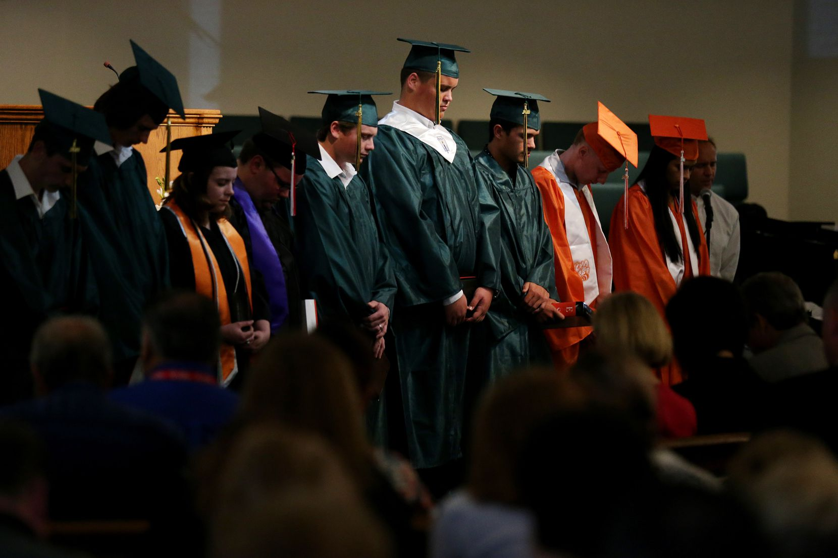 Graduating high school seniors are recognized during worship service at Arcadia First Baptist Church in Santa Fe, Texas Sunday May 20, 2018. Gov. Greg Abbott, Lt. Gov. Dan Patrick, and others were in attendance at the service.