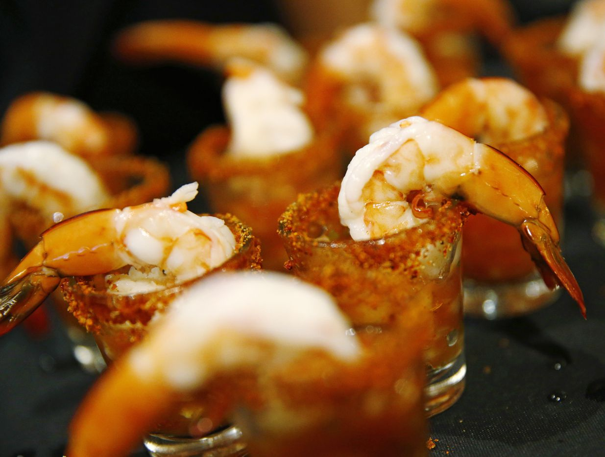 Texas shrimp shooter cocktails at Cafe Express.