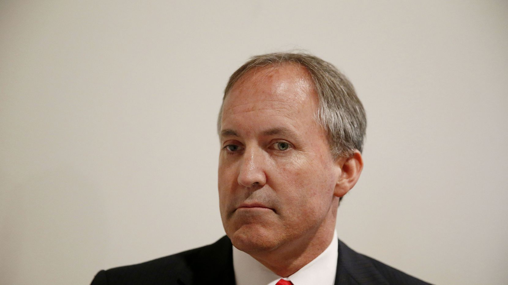 Texas Attorney General Ken Paxton speaks to the media after The Online Safety Roadshow at Leadership Prep School in Frisco, Texas Wednesday May 6, 2015. (Andy Jacobsohn/The Dallas Morning News)