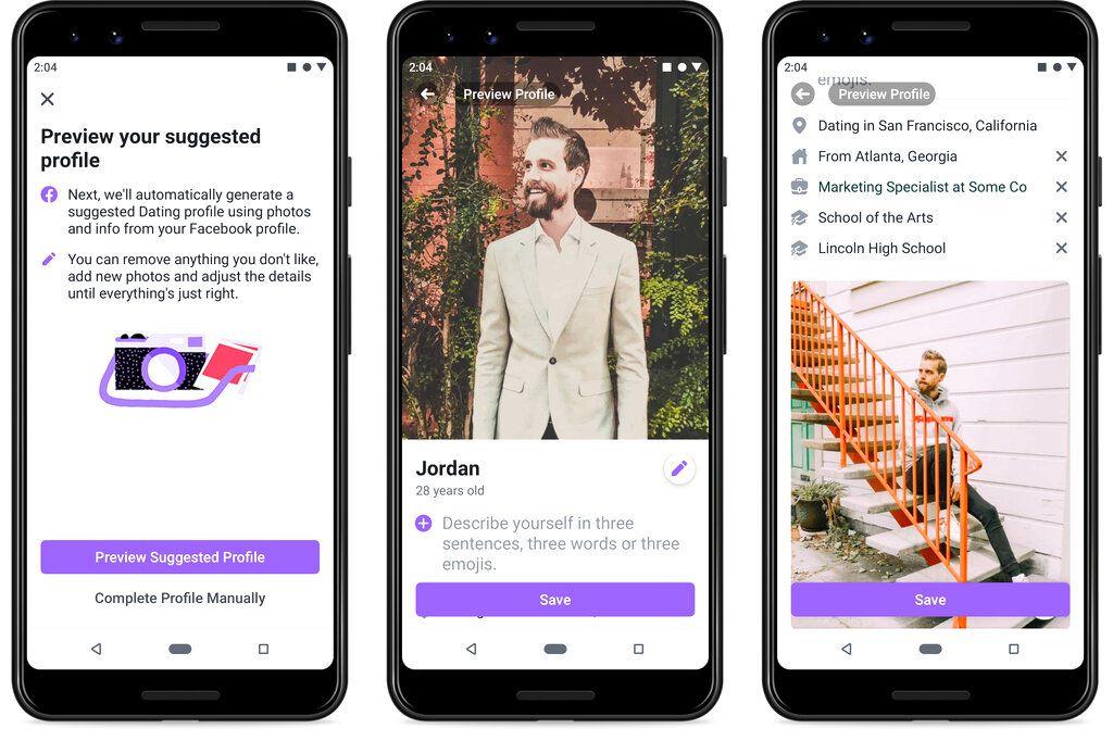 Imagen suministrada por Facebook de su servicio de citas Facebook Dating, que ya funcionaba en 19 países y el 5 de septiembre del 2019 fue lanzado también en EEUU.