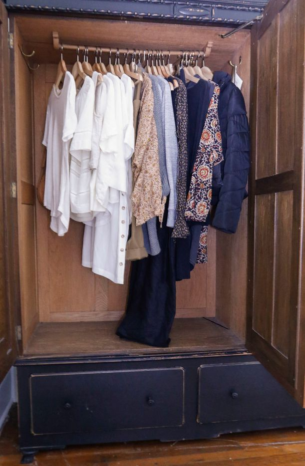 Caroline Rector has managed to fit most of her spring and summer wardrobe into a free standing closet in the master bedroom of her Denton home.
