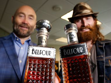 Hockey legend Ed Belfour, left, and his son Dayn Belfour's new company Belfour Spirits launches on Oct. 1, 2019 with three whiskeys: a limited edition straight rye, a bourbon and a regular rye.