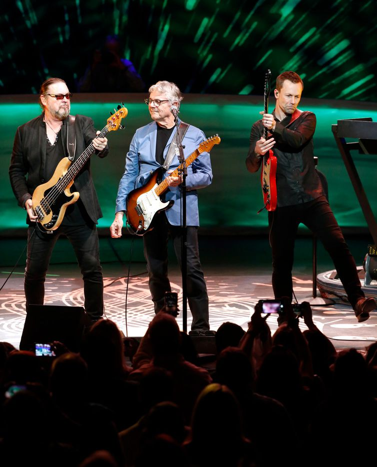 Steve Miller, of the Steve Miller Band, center, from left, Kenny Lee Lewis; bass guitar, back-up vocals, and Jacob Peterson; back-up vocals and guitar, perform at the Majestic Theatre in San Antonio, Texas, Wednesday, July 25, 2018. Steve is currently on his 50th Anniversary Tour and will perform at Allen Event Center in Allen on Friday, July 27, 2018. (Suzi Woo Photo)