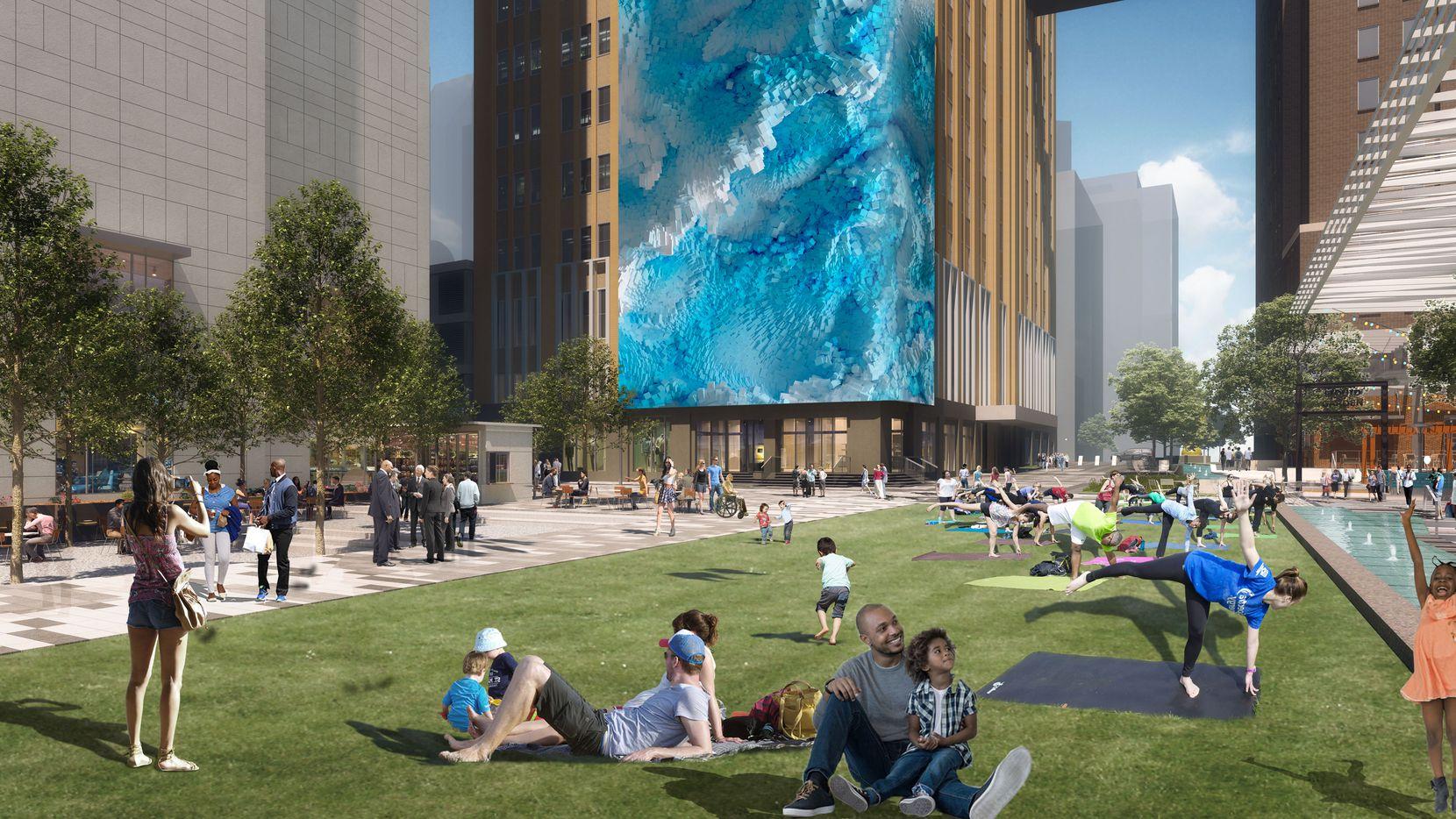 La plaza pública del cuartel corporativo de la compañía AT&T en el centro de Dallas.