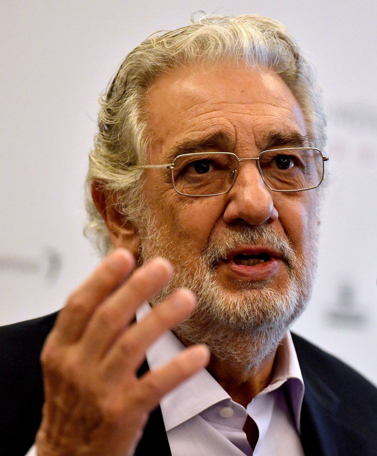 Spanish tenor Placido Domingo speaks during a press conference on July 17, 2017