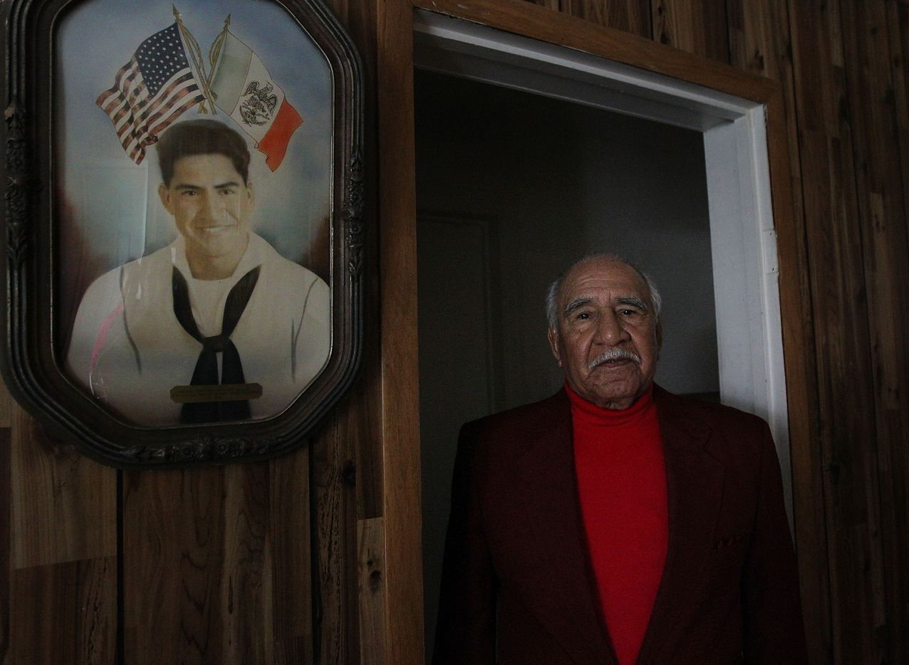 Felix Lozada, 89, grew up in La Bajada neighborhood of West Dallas and owned his home since 1961.  He is a WWII veteran and served in the Navy in the Pacific. Mr. Lozada posed for pictures Tuesday, Feb. 14, 2012.