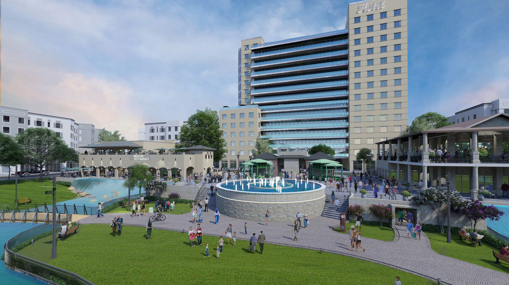 A 200-room hotel, restaurants, apartments and a water feature would be constructed in the first phase of the Collin Creek Mall project.