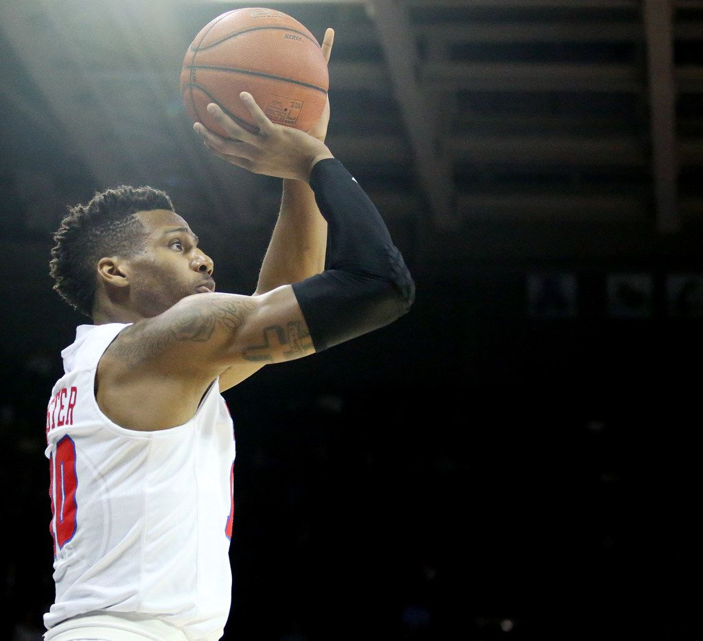 SMU guard Jarrey Foster (10) shoots the ball in the first half of an NCAA basketball game against Temple at Moody Coliseum in Dallas, Wednesday,  January 10, 2018. (Andy Jacobsohn/The Dallas Morning News)